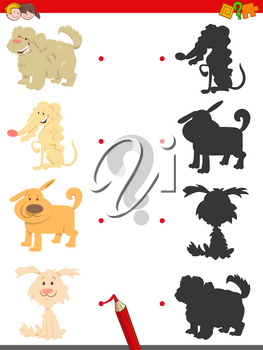 Cartoon Illustration of Find the Right Shadow Educational Game for Children with Cute Dogs and Puppies Animal Characters