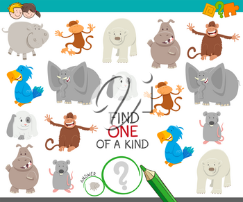 Cartoon Illustration of Find One of a Kind Picture Educational Activity Game with Funny Animal Characters