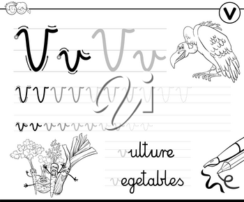 Black and White Cartoon Illustration of Writing Skills Practice Worksheet with Letter V for Preschool and Elementary Age Children Coloring Book