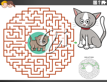 Cartoon Illustration of Educational Maze Puzzle Game for Children with Kittens