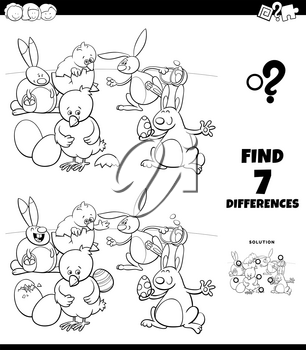 Black and White Cartoon Illustration of Finding Differences Between Pictures Educational Game for Children with Easter Bunnies and Chicks Characters Coloring Book Page