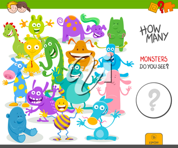 Cartoon Illustration of Educational Counting Activity Game for Children with Funny Monsters Fantasy Characters