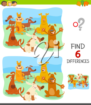 Cartoon Illustration of Finding Six Differences Between Pictures Educational Game for Children with Happy Dogs