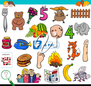 Cartoon Illustration of Finding Picture Starting with Letter F Educational Task Worksheet for Children
