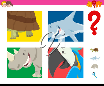 Cartoon Illustration of Educational Game of Guessing Animals for Preschool Children