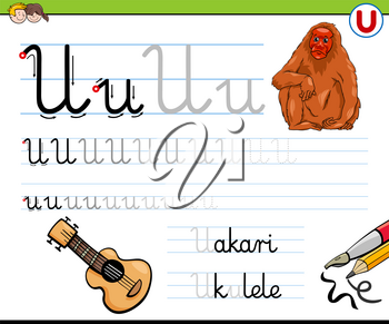 Cartoon Illustration of Writing Skills Practice Worksheet with Letter U for Preschool and Elementary Age Children
