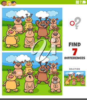 Cartoon Illustration of Finding Differences Between Pictures Educational Task for Children with Comic Dogs Group