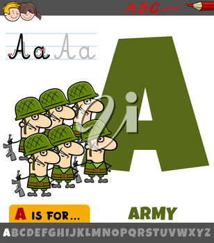 Educational cartoon illustration of letter A from alphabet with army for children