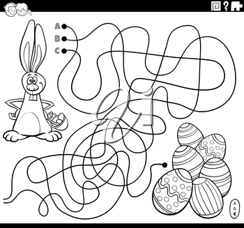 Black and white cartoon illustration of lines maze puzzle game with Easter Bunny character and colored eggs coloring book page