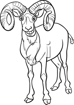Black and white cartoon illustration of funny urial comic animal character coloring book page