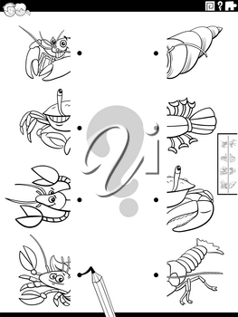 Black and white cartoon illustration of educational task of matching halves of pictures with funny animals characters coloring book page