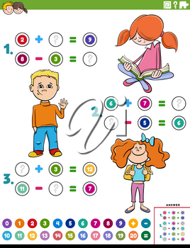 Cartoon illustration of educational mathematical addition and subtraction puzzle task with children characters
