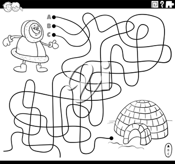 Black and white cartoon illustration of lines maze puzzle game with Eskimo character and igloo coloring book page