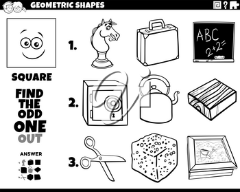 Black and white cartoon illustration of square geometric shape educational odd one out task for children coloring book page