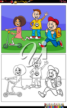 Cartoon illustration of school children comic characters coloring book page
