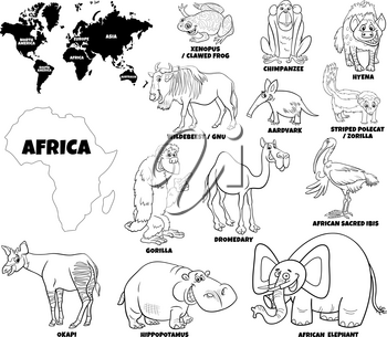 Black and white educational cartoon illustration of African animal species set and world map with continents shapes coloring book page
