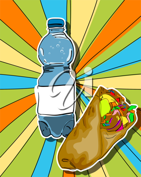 Royalty Free Clipart Image of a Pop-Art Design of Water and a Shawarma