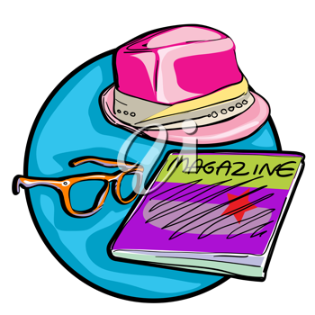 Royalty Free Clipart Image of a Hat, Magazine and Glasses