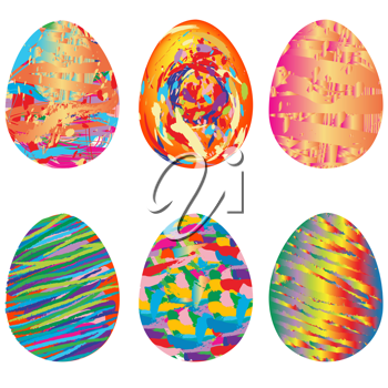 Easter set of 6 painted eggs isolated on white