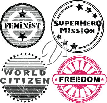 Royalty Free Clipart Image of Social Issues Stickers