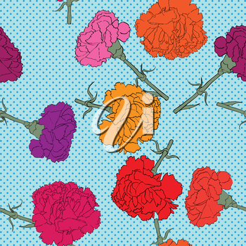 Carnations seamless pattern with pop art dots, hand drawn cartoon illustration with beautiful flowers