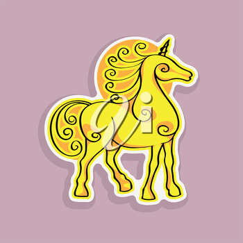Cartoon fantastic unicorn sticker, hand drawn doodle illustration of a baby animal on a pink background