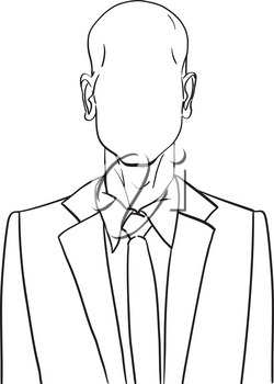 Hand drawn artistic illustration of an anonymous bald man in a business suit, web profile doodle isolated on white