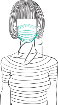 Hand drawn artistic illustration of an anonymous avatar of a young woman with bob coiffure and bang in a casual shirt, wearing a medical mask, web profile doodle isolated on white