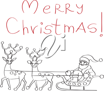 Hand drawn doodle greetings card with Santa Claus and reindeers isolated on white