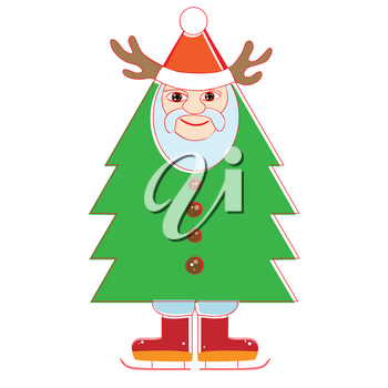 Hand drawn cheerful Santa Claus as a Christmas tree, surrealist toy illustration isolated on white