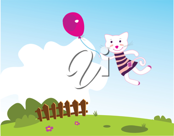 Royalty Free Clipart Image of a Kitten and a Balloon