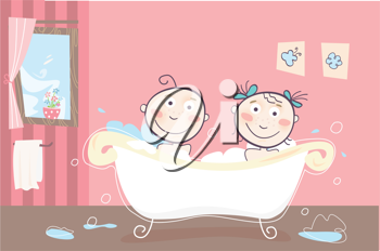 Royalty Free Clipart Image of Children in a Bath