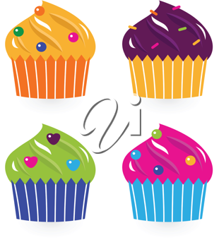 Royalty Free Clipart Image of Decorated Cupcakes