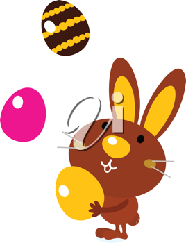 Royalty Free Clipart Image of a Rabbit Juggling Easter Eggs