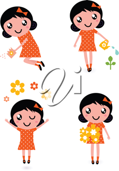 Royalty Free Clipart Image of a Girl Doing Gardening Things