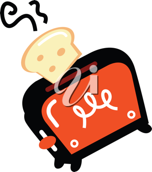 Royalty Free Clipart Image of Bread and a Toaster