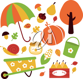 Autumn garden set. Vector illustration
