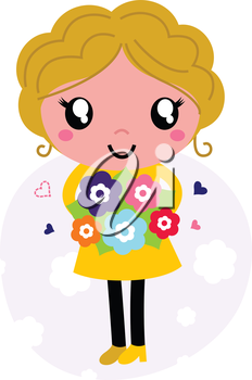 Mother holding flowers for Mother's day. Vector Illustration