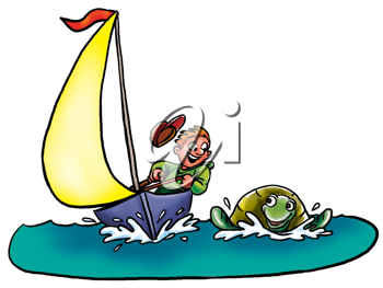 Royalty Free Clipart Image of a Turtle Beside a Sailboat