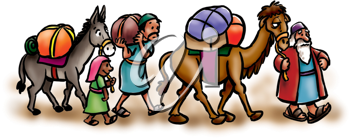 Royalty Free Clipart Image of People With a Camel and a Donkey