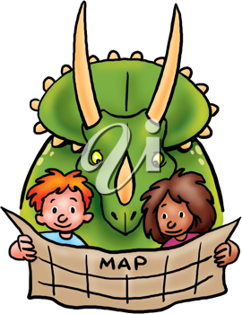 Royalty Free Clipart Image of Children and a Dinosaur Holding a Map