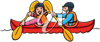 Royalty Free Clipart Image of Kayakers