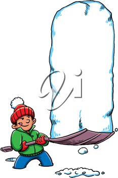 Royalty Free Clipart Image of a Boy With a Big Pile of Snow on a Shovel