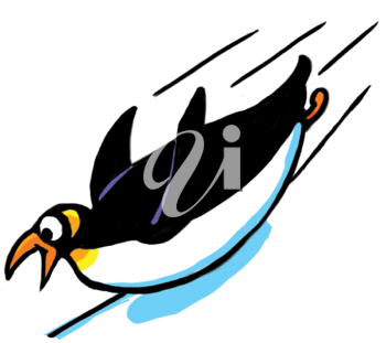 Royalty Free Clipart Image of a Penguin Sliding Down a Hill on Its Belly