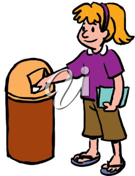 Royalty Free Clipart Image of a Girl Throwing Something in the Garbage