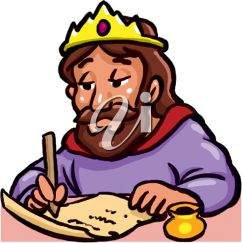 Royalty Free Clipart Image of a Man in a Crown Signing a Paper