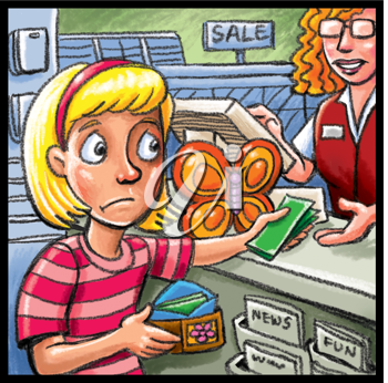 Royalty Free Clipart Image of a Child Making a Purchase