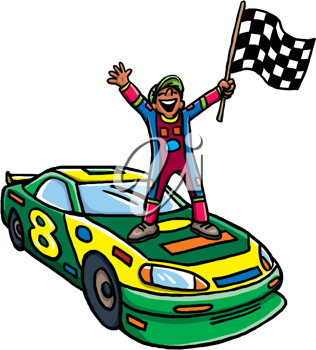 Royalty Free Clipart Image of a Man Waving a Checkered Flag on a Car