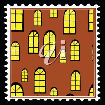 Royalty Free Clipart Image of a Home Postage Stamp