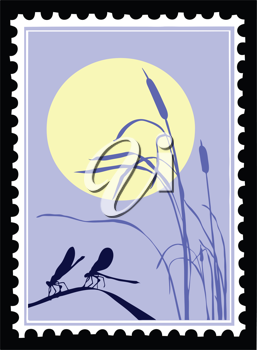 Royalty Free Clipart Image of a Dragonfly Postage Stamp